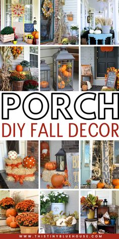 Best DIY Fall Decor Ideas - This Tiny Blue House Get your home fall ready with these stunning autumn porch decor ideas. These Best DIY Fall Decor ideas for your porch are easy to make, inexpensive and guaranteed to add some autumn flair to your home. Studio Decor, Autumn Decorating, Fall Outdoor Decorating, Deco Floral, Fall Home Decor, Fall Decor Outdoor, Fall Yard Decor, Dyi Fall Decor, Seasonal Decor