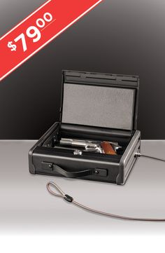 Get powerful protection even while you're on the go!  The Portable Pistol Safe features solid steel construction, pry-resistant door design and high security key lock.  The steel tethering cable allows you to secure your firearm to a grounded object so if your attention is momentarily drawn away, you know no one is walking off with your firearm.