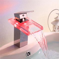 Bathroom Sink Faucet Color Changing LED Waterfall High Quality Brass Faucet(Chrome Finish) - this would be crazy fun for the kids' bathroom! Cheap Bathroom Faucets, Bathroom Mixer Taps, Basin Sink Bathroom, Basin Mixer Taps, Kitchen Faucets, Bathroom Fixtures, Sinks, Futuristisches Design, Interior Design