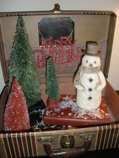 Merry Christmas - vintage suitcase decoration