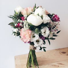A Rustic Petite Of White Peonies, Dusty Pink And A Pop Of Deep Maroon.