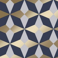 Fine Decor Nova Geometric Wallpaper Navy Gold - Wallpaper from I Love Wallpaper UK Geometric Wallpaper Mustard, Blue And Gold Wallpaper, Navy Wallpaper, Paper Wallpaper, Wallpaper Samples, Print Wallpaper, Blue Wallpapers, Wallpaper Roll, Luxury Wallpaper