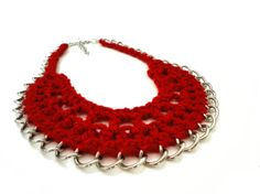 Red Crocheted Chain Collar Bib Necklace by ChichiKnots on Etsy, $33.00
