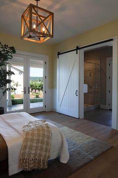 Edison's Manor Wooden Chandelier.   Like the door between bedroom and bathroom.