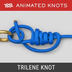 The Trilene Knot is a strong and reliable fishing knot to join monofilament line to hooks, swivels and lures. The Trilene Knot resists slippage and failures and is an excellent and stronger alternative to the Clinch Knot. Best Fishing Knot, Fishing Hook Knots, Fishing Tips, Paracord Knots, Rope Knots, Snell Knot, Quick Release Knot, Animated Knots, Bowline Knot