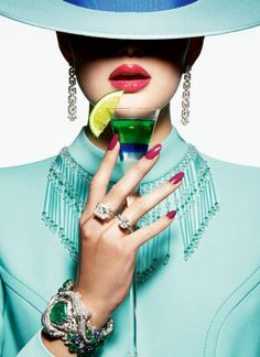 """D'été cocktail"" for Vogue Paris June/July 2014, ph. by Thomas Lagrange."