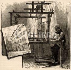 Tessitore della seta a Spitalfields Textile Manufacturing, East London, Loom, Weaving, London England, Textiles, Stock Photos, Silk, History