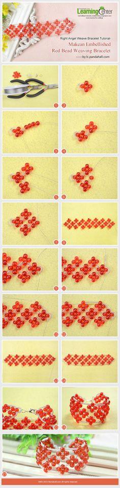 Right Angel Weave Bracelet Tutorial-Make an Embellished Red Bead Weaving Bracelet:
