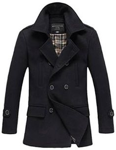 How To Clean A Wool Pea Coat  Wool Pea Coat Match Men s Wool Blend Buttoned a16b1dbbb24e1