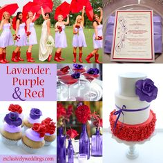 Lavender, Purple and Red Wedding Colors Red Purple Wedding, Popular Wedding Colors, Wedding Pics, Wedding Ideas, July Wedding, Wedding Reception, Wedding Decorations, Wedding Color Schemes, Wedding Colours