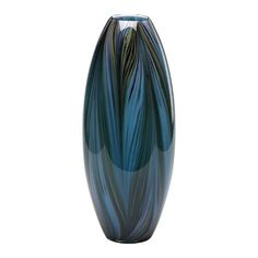 Cyan Design Peacock Feather Vase in Multi-Colored Blue