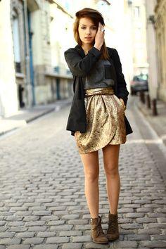 Love the gold skirt