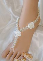 Glamorous Satin Flower Sandals, Bridal Jewelry, Barefoot Sandals On SALE Free Shipping! $70.95