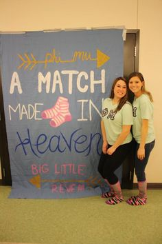 #Phi Mu - A Match Made In Heaven #BigLittleReveal Big Little Canvas, Big Little Reveal, Alpha Sigma Alpha, Phi Mu, Sorority Life, Little Sisters, Theta, College Life, Banners