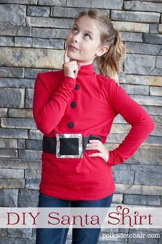 DIY Santa shirt funny for ugly Christmas sweater party! Christmas Shirts For Kids, Tacky Christmas, Christmas Costumes, Ugly Christmas Sweater, Kids Christmas, Christmas Outfits, Christmas Crafts, Christmas Plays, Xmas Sweaters