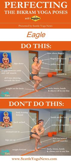Looking to perfect your Bikram yoga eagle yoga pose? Take a look at this eagle yoga pose guide that visually explains what to do and what not to do.