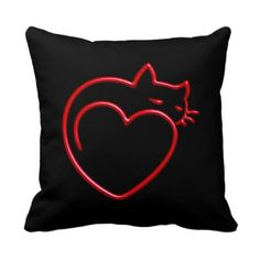 "I Love Cats! (Stylized Red Outline on Black) SQP - Not just for cat lovers (although it helps) the design on this cushy, cozy pillow is simplicity at its' finest using the barest of lines necessary to capture your attention and heart. Featuring a large red outlined kitten curled up in the shape of a heart on a black background, it coordinates with our ""I Love Cats!"" series @ www.zazzle.com/icondoit+cat+lovers+gifts?rf=238155573613991097&tc=pnt #catpillows #catlovers"