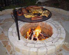 New Ideas backyard fire pit bbq ideas Fire Pit Cooking, Fire Pit Grill, Diy Fire Pit, Fire Pit Backyard, Cooking On The Grill, Backyard Patio, Backyard Landscaping, Fire Pits, Backyard Seating