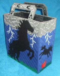 Images of plastic canvas tote bag patterns | Wild Mustang Tote Bag Plastic Canvas PDF by RainbowPonyDesigns Sorry no pattern available, this is for inspiration only