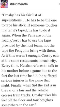 Sidney Crosby and his many superstitions
