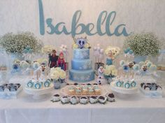 Elaborate dessert table at a Frozen girl birthday party! See more party planning ideas at CatchMyParty.com!