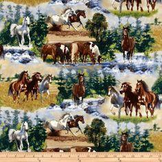 Horse print fabric from fabric.com: Wild Horses Scenic Horses Blue Item Number: 220229