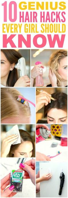 These 10 genius hair hacks every girl should know are THE BEST! I'm so glad I found these GREAT tips! Now I have some awesome ways to save time and get cute hair! Definitely pinning!