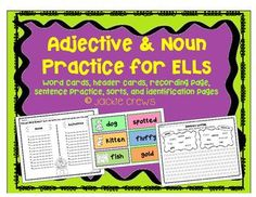 If you are looking for a way to help students be more descriptive writers, this adjective/noun practice product will help.  It has word cards for sorting, sentence practice, identification from text, and even an assessment at the end.Here are the exact pages in the file:1.Rationale for this approach to teaching nouns/adjectives2.