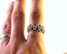 Japanese 8 in 2 Chainmaille Ring in Argentium by HarlequinWeave