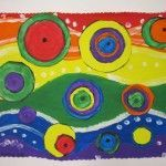 Kandinsky's circle painting. Focus on texture, colour (warm and cool), and eye path. Classroom Art Projects, School Art Projects, Art Classroom, Kindergarten Art Lessons, Art Lessons Elementary, 4th Grade Art, Fourth Grade, Third Grade, Art Kandinsky