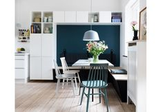 Lovely nordic dining area with built in storage and smart interior solutions. Get a closer look at the smart storage ideas here.