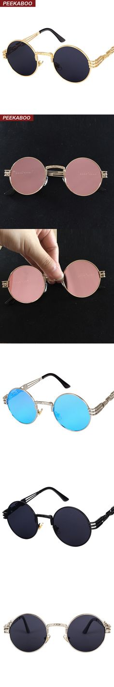 New vintage retro gothic steampunk mirror sunglasses gold and black sun  glasses vintage round circle men UV gafas de sol hombre a910e9ccd3d9