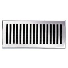 "This chrome finish solid brass floor register heat vent cover with a contemporary design fits 4"" x 10"" x 2"" duct openings and adds the perfect accent to your home decor."