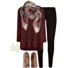 plaid scarf, red sweater, black jeans, brown booties