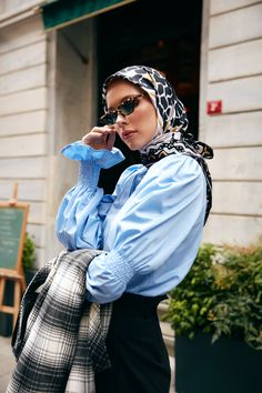 The perfect addition to any Muslimah outfit, shop Eda Atalay's stylish Muslim fashion Blue - Crew neck - - Blouses. Find more Blouses at Modanisa! Modern Hijab Fashion, Hijab Fashion Inspiration, Muslim Fashion, Aesthetic Fashion, Modest Fashion, Fashion Outfits, Apostolic Fashion, Modest Clothing, Modest Outfits