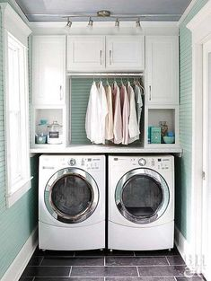 washer dryer with built in cabinets above and hanging clothes rack- LOVE THE BLU. washer dryer with built in cabinets above and hanging clothes rack- LOVE THE BLUE AND WHITE Laundry Room Layouts, Large Laundry Rooms, Laundry Room Remodel, Laundry Room Design, Laundry Area, Laundry Decor, Laundry Drying, Basement Laundry, Kitchen Design