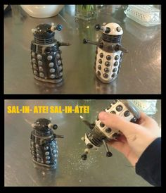 Doctor Who Crafts — dalek salt and pepper shakers \\