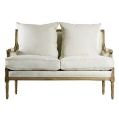 French Country Natural Oak Louis XVI White Linen Settee