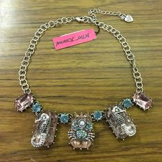 """Betsey Johnson crab & seahorse statement necklace Betsey Johnson frontal necklace. Crab and seahorse design with pink and blue beads. Lobster clasp with adjustable length and extender chain. Approx 16"""" + 3"""" extender. NWT Betsey Johnson Jewelry Necklaces"""