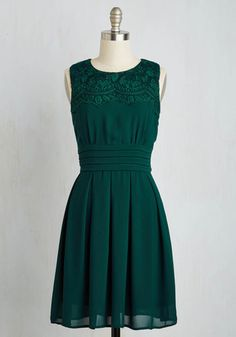 V.I.Pleased Dress in Forest Green - Green, Solid, Wedding, Bridesmaid, A-line, Sleeveless, Woven, Better, Mid-length, Lace, Variation