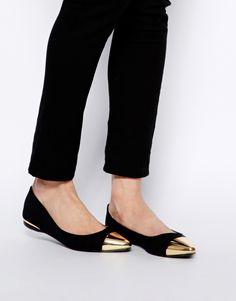 Image 4 ofOasis Black Metal Toe Cap Flat Shoes