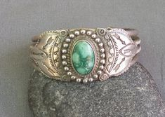 Old Vintage Childs or Very Small Wrist Silver Stamped Turquoise Cuff Bracelet
