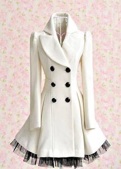 Cream peacoat with black tulle detailing