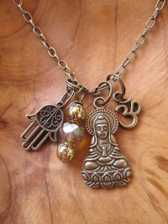 Buddha QuanYin  Charm Necklace Goddess of by DestinyAccessory, $24.00