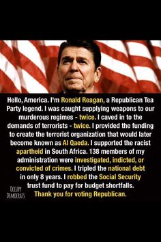 Americas first cocaine kingpin ronnie reagan. Ronald Reagan was a Drug Dealer http://m.dailykos.com/story/2007/06/16/347209/-Ronald-Reagan-was-a-Drug-Dealer… Plus>   Yes, meet the worst president in US history!
