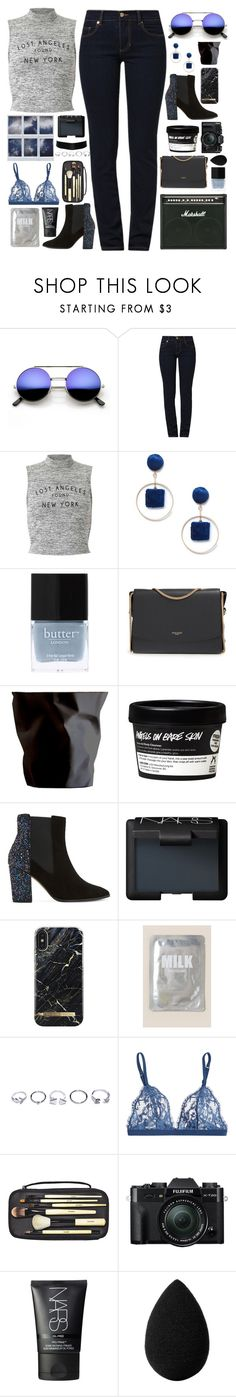 """""""hilarie"""" by soft-orchid ❤ liked on Polyvore featuring Versace, Miss Selfridge, Sole Society, Butter London, Nina Ricci, ESSEY, Dune, NARS Cosmetics, iDeal of Sweden and Lapcos"""