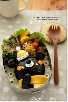 Adorable bundled up black bear winter themed bento box (made from rice + nori, cheese, egg, and carrot) Kawaii Bento, Cute Bento, Cute Food, Good Food, Japanese Food Art, Food Art For Kids, Bento Recipes, Weird Food, Food Humor
