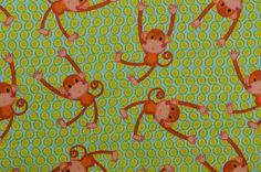 Cotton Flannel Fabric Monkey Fabric Flannel Quilting Fabric www.thefabricscore.etsy.com #flannel #fabric #monkey #sewing