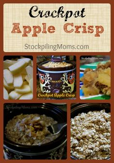 CROCKPOT APPLE CRISP:4-5 cups apples, sliced 1 cup of oats 1½ cups flour 1 cup packed brown sugar ½ cup regular sugar 3 tsp. cinnamon ¾ cup butter Instructions S...