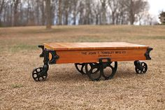 Antique Towsley Factory Cart Railroad Industrial Coffee Table Lineberry   eBay